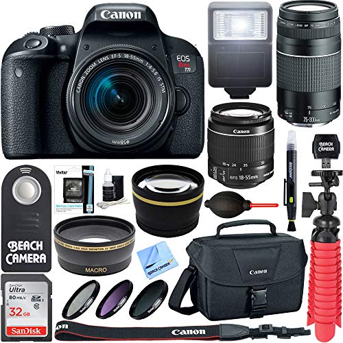 Canon EOS Rebel T7i DSLR Camera  + 18-55mm IS STM & 75-300mm