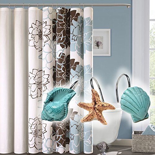 AGPtekR 12 PCS Fashion Decorative Home Bathroom Seashell Shower Curtain