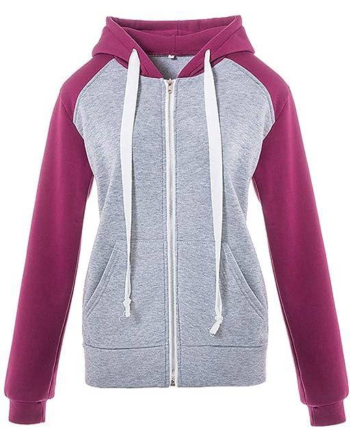 Sudadera con Capucha Pullover Casual Abrigo Corto Color Coincidente Mujer Morado S