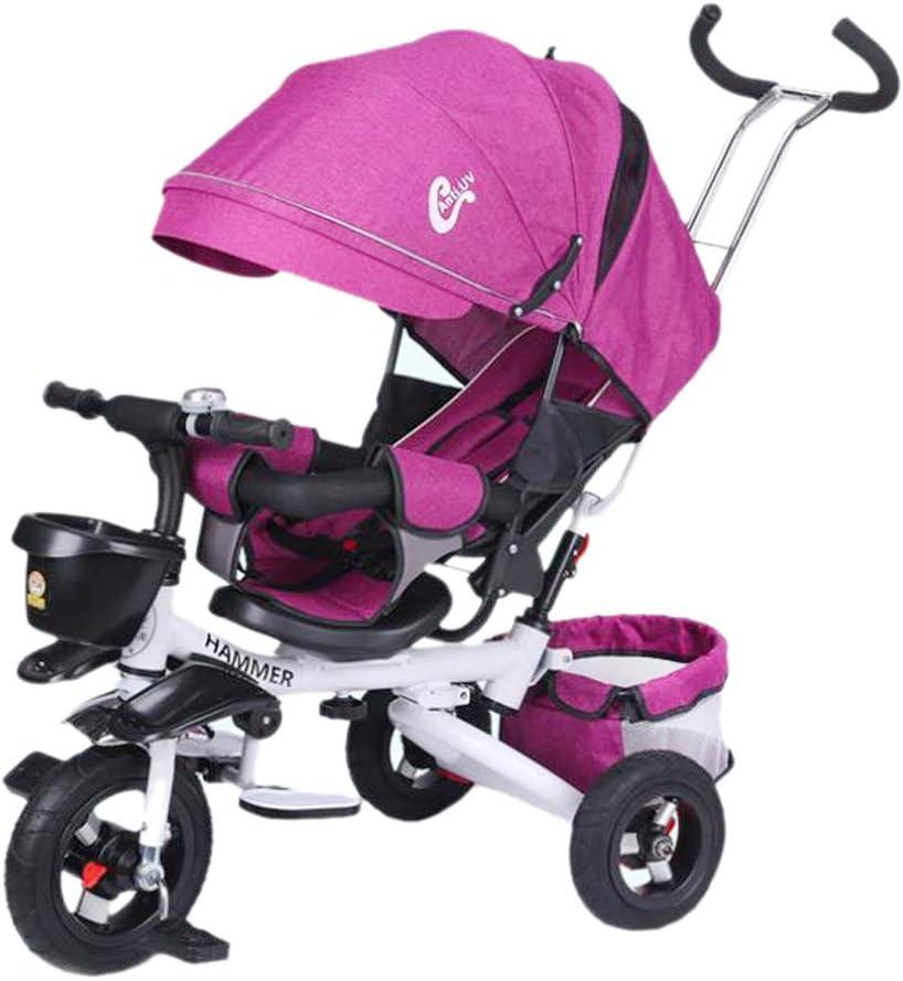 Aocean Tricycle,Triciclos Trike Bebes Evolutivo Infantil 4 en 1 Bicicletas para Bebe Niños Reclinable Cochecito con Cuna Reversible al Padres MáXima 30 Kg, Purple