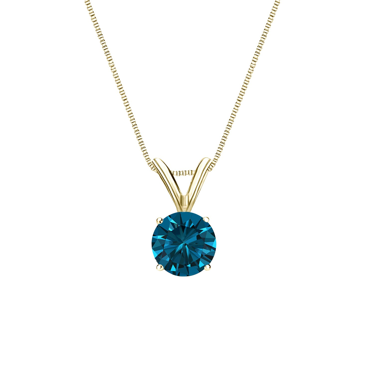 18k Yellow Gold 4-Prong Basket Round-cut Blue Diamond Solitaire Pendant (1/2 cttw, Blue, I1-I2)