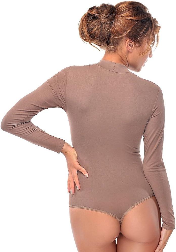 Krisli Body da donna a maniche lunghe e scollo rotondo