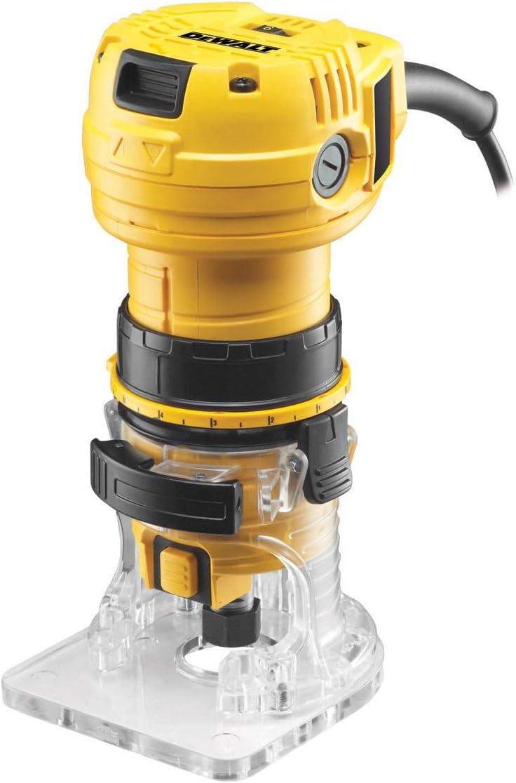 Dewalt DWE6005-QS Perfiladora 590W-34.000 RPM (6 mm), Negro y amarillo
