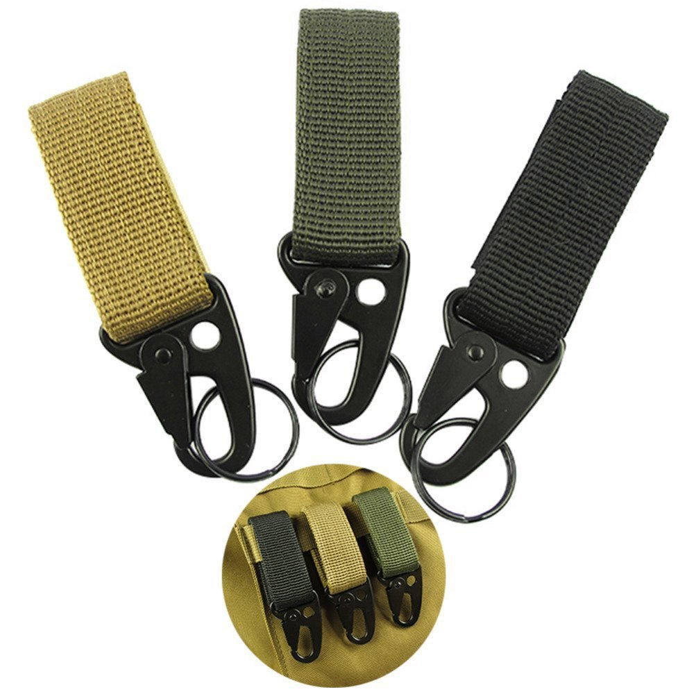 Aubess Carabiner Clip Military Nylon Key Hook Webbing Molle Buckle Outdoor Hanging Belt