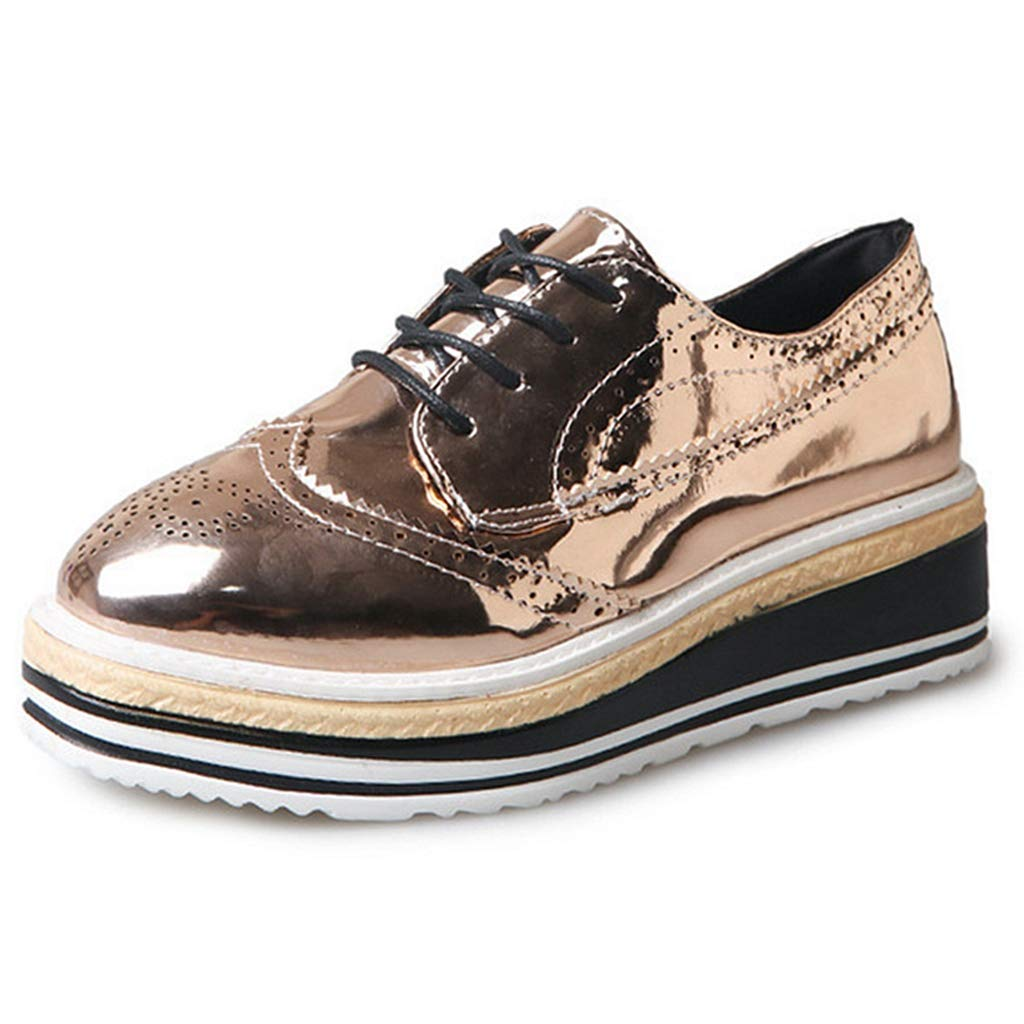 263b865aa Amazon.com | Women's Oxfords Shoes Round Toe Perforated Lace-up Flat Wegde Platform  Brogues Wingtip Oxford Shoes | Oxfords