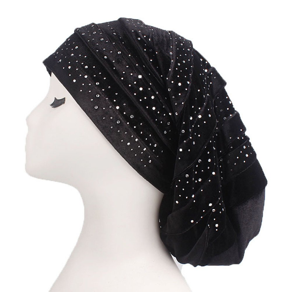 HADM Starry Diamond Turban Chemo Head Wrap Hijab Scarf Long Tail Hats Dreadlock Caps