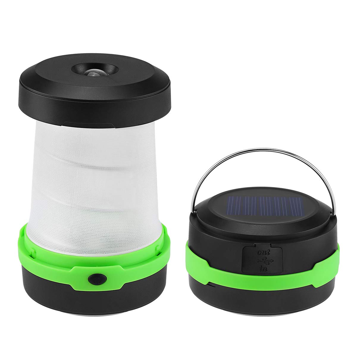 Solar LED Camping Lantern Lights, Solar Powered USB Rechargeable, 3 Lighting Modes, Portable Collapsible Flashlight Emergency Charger for Phone, Great for Outdoors Camping Hiking Tent