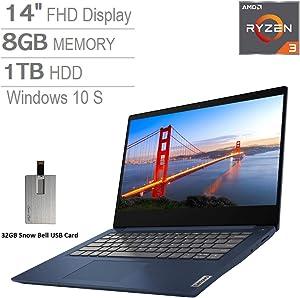 """2020 Lenovo IdeaPad 3 14"""" FHD Laptop Computer, AMD 3rd Gen Ryzen 3-3250U, 8GB RAM, 1TB HDD, AMD Radeon Vega 3, Dolby Audio, HD Webcam, HDMI, Windows 10 S, Abyss Blue, 32GB SnowBell USB Card"""