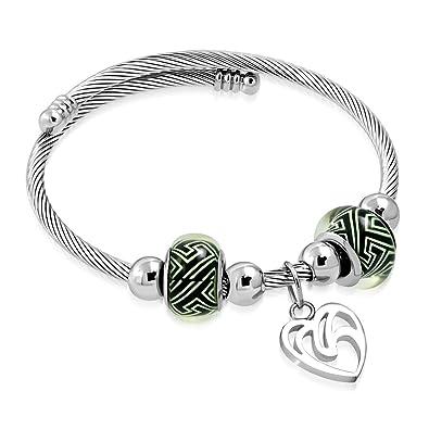 Edelstahl Keltischer Verdrehte Kabel Draht Fancy Herz Charm Pandora ...