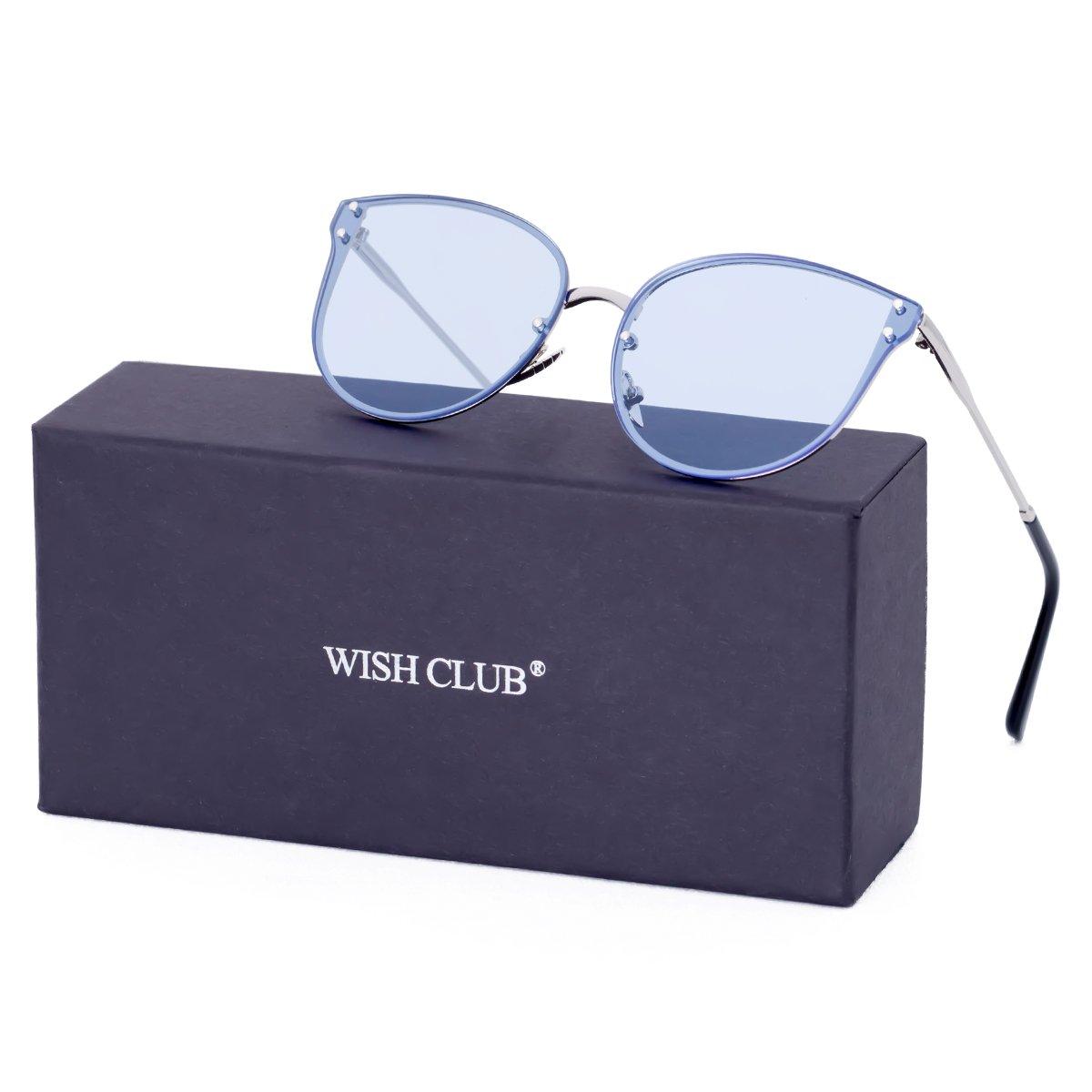 WISH CLUB Women Oversized Cat Eye Sunglasses Designer Rimless Flat Mirrored Lenses Glasses Blue1