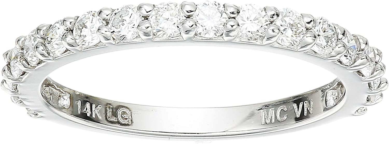 Lab Grown Diamond Shared Prong Wedding Band in 14k White Gold (1/2 CT.TW., I-J Color, SI1-SI2 Clarity), Size 5