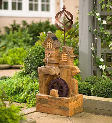 Solar Watermill Fountain with Spinner (Solar Lights With Water Powered Feature)