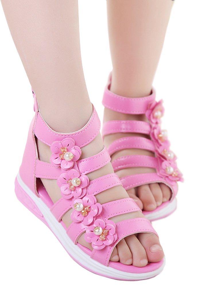 UBELLA Girls High Top Back Zipper Flower Casual Summer Beach Gladiator Sandals