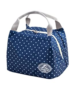 Geyou Lunch Bags,Insulated Cold Canvas Stripe Picnic Carry Case Thermal Portable Lunch Bag For Women Kids (D)