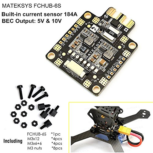 Matek Systems PDB Power Distribution Board BEC 5V/1.5A 10V/1.5A Current Sensor 184A for FPV Racing Drone Quadcopter Martian QAV X 250 210 220 180 (Current System)
