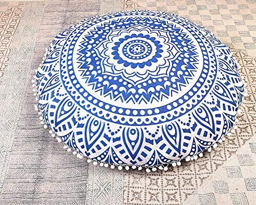 Gokul Handloom Indian Large Mandala Floor Pillow Comfortable Home Car Bed Sofa Large Mandala Floor Pillows Round Bohemian Meditation Cushion Cover Ottoman Pouf Cover
