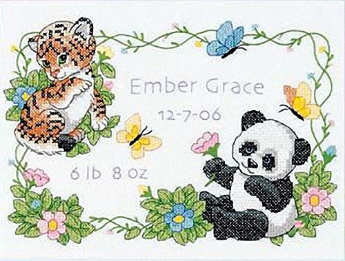 Dimensions Stamped Cross Stitch Kit Baby Animals Birth Record Personalized Baby Gift, 12