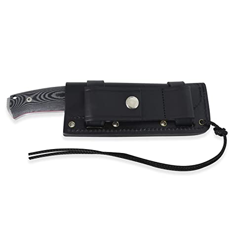 Cudeman Cuchillo de Supervivencia 298-M* Fab I con Mango de micarta Negra con Separador Rojo, Hoja MOVA de 11 cm de Largo