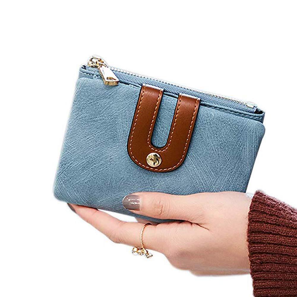 Womens RFID Blocking Short Wallet Large Capacity Card Holder Cash Coin Organizer (Blue)