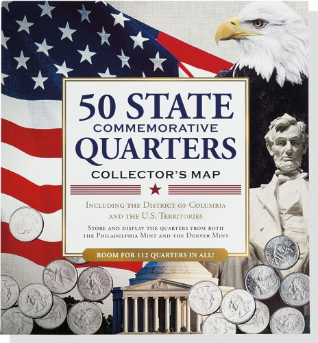 50 State Commemorative Quarters Collector's Map (includes both mints!)