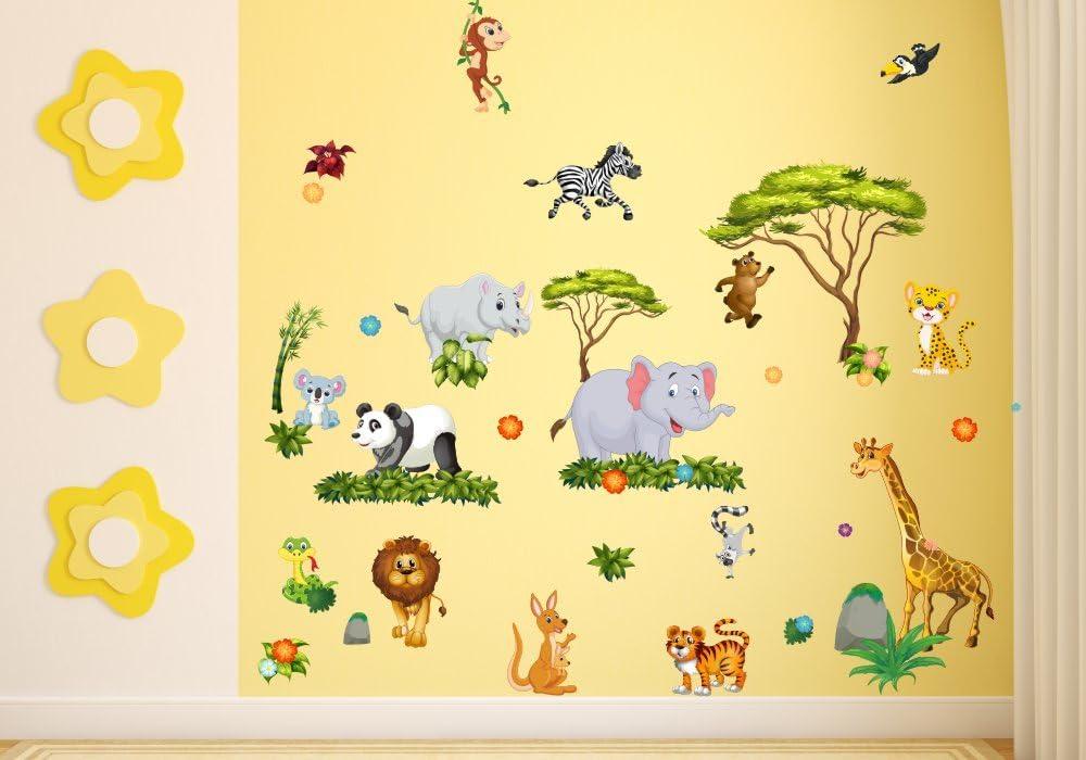 060 Wandtattoo Wanddekoration Dschungel Tiere L/öwe Elefant Koala Panda Giraffe Zebra nikima Kinderzimmer Sticker Wandaufkleber niedliche Wandsticker Wanddeko Wandbild Junge M/ädchen in 6 Gr/ö/ßen 750 x 420 mm