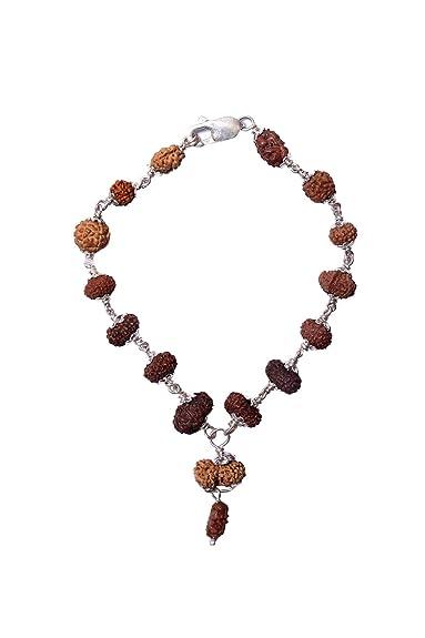 946618df614 Rudra Divine Rudraksha Natural 1-14 Mukhi+Gauri Sankar Siddh Rudraksha  Bracelet with Certificate of Originality in Pure Silver Cap ...