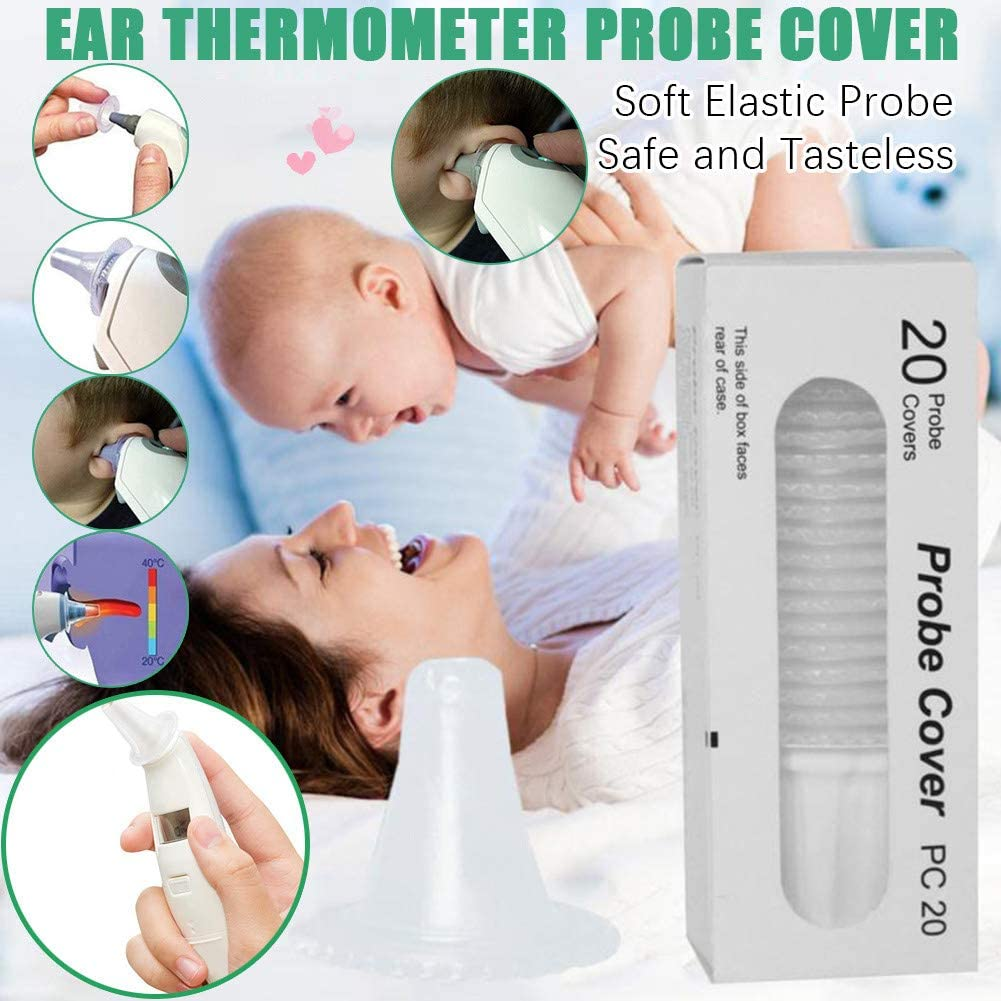 Disposable Ear Thermometer Probe Covers,Amiley 20//80//100//PCS Non-Contact Ear Thermometer Earmuffs Earcap Replacement Lens Filters Probe Covers Digital Thermometers Earcap Cover Caps 20