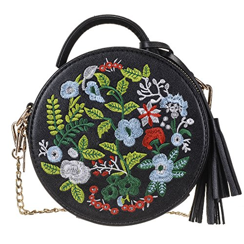 Embroidered Leather Clutch - Women's Ethnic Style Embroidered Round Crossbody Shoulder Bag Top Handle Tote Handbag Bag