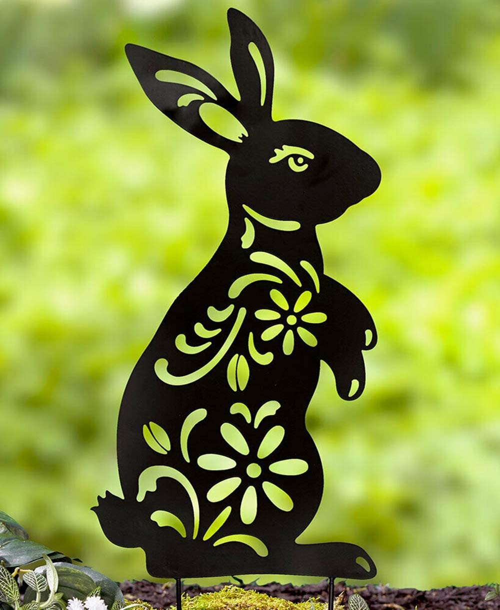 Briskly41 Animal Silhouette Stake Black Bunny Rabbit Garden Stake Yard Art Lawn Outdoor Patio Home Decor Floral Cutouts Metal Decorations Country