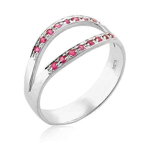Amazon Com 14k White Gold Dual Channel Set Ruby Wedding Ring White Gold Ruby Ring Ruby Jewelry Unique Wedding Band For Women Handmade