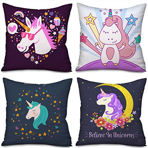 (4 Pack Unicorn Pillow case Cushion Covers Home Decor, Unicorn gifts Christmas Thanksgiving Halloween 18 x 18 Inches Two Sides Cute Pillow Cover Case Sofa Decorative (4 Pack Unicorn-B))