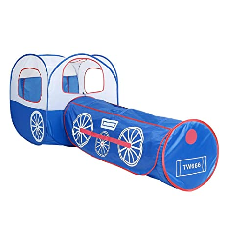 Bulary Carpa Plegable Pop Up Play Tent Interior Blue Train Crawl Tunnel Child Tent Outdoor Play