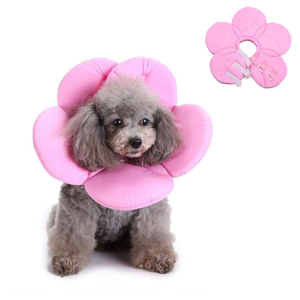 Oncpcare Flower Shapes Soft Pet Cone Recovery Collar for Dogs Cats After Injury, Neck Cover Avoiding Scratch The Wound to Heal Faster, Convenient Adjustable E-Collar by Oncpcare