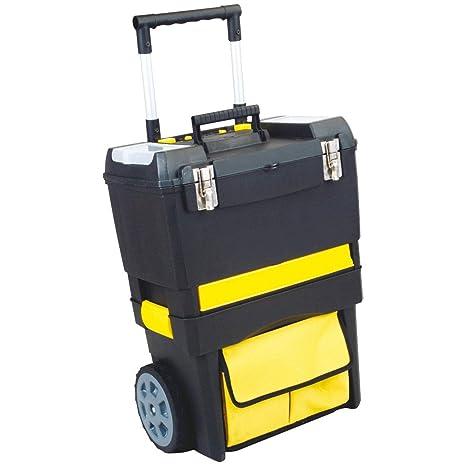 Caja de Herramientas de Almacenamiento con Ruedas para Guardar Herramientas y almacenaje, Color Amarillo,