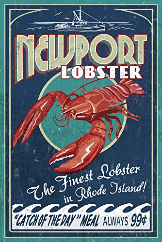 Newport, Rhode Island - Lobster Vintage Sign (9x12 Collectible Art Print, Wall Decor Travel Poster)
