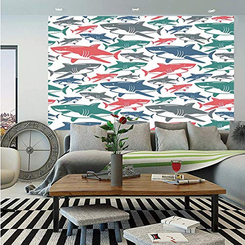 SoSung Sea Animal Decor Wall Mural,Mix of Colorful Bull Shark Family Pattern Masters of Survival Kids Nursery,Self-Adhesive Large Wallpaper for Home Decor 55x78 inches,Multi