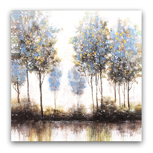 Studio 500 Museum Quality Painted Wall Art - The Woods Reflection off the Lake in Abstract 36W x 36H Hand Painted Over Hi-Resolution Giclee Printing & Finished in Real Gold Leaf by Artist LC:YSB9112