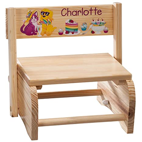 Strange Fox Valley Traders Personalized 2 In 1 Childrens Step Stool And Chair Customized With Kids Name Animals And Dessert Design Short Links Chair Design For Home Short Linksinfo