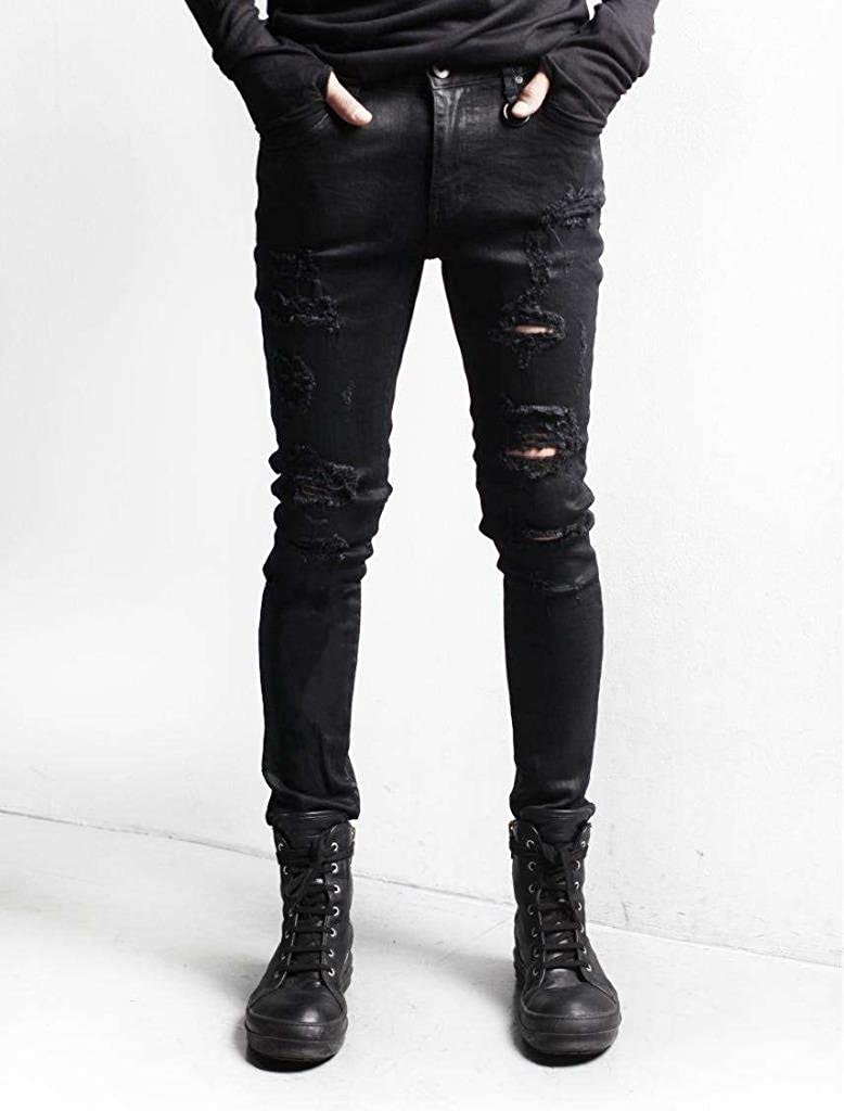 Nothing but Denim Mens Slim Fit Ripped Denim Pants Destroyed Jean