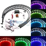 "SOCAL-LED 4x Car LED Strip Lights RGB 7 Color LED Underglow Kit Underbody Accent Light, Wireless Remote Control, Sound Activated, 36"" & 48"" Strips"