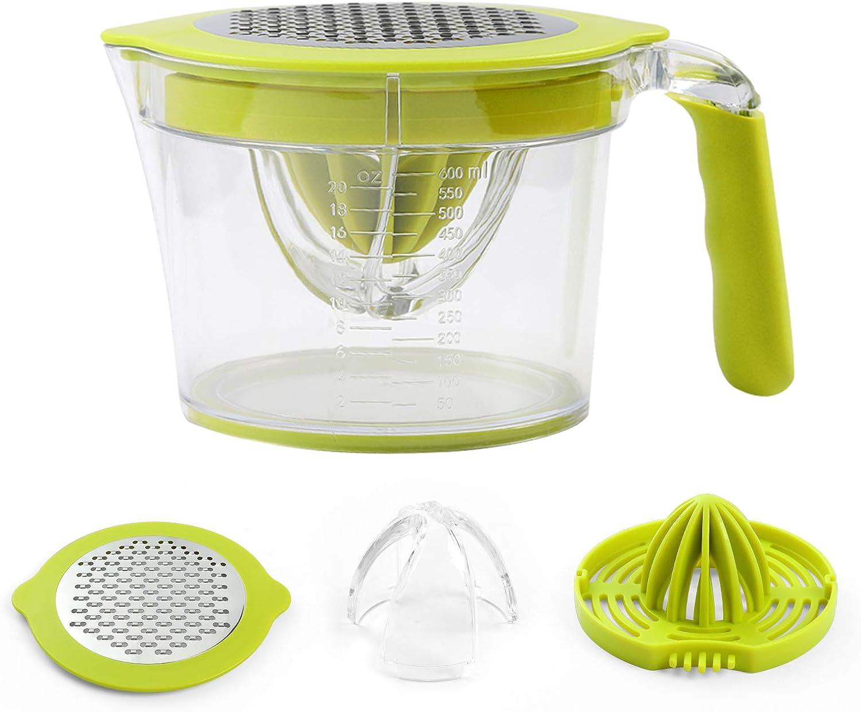 Manual Citrus Juicer Measuring Cup, Multifunctional Lemon Orange HandSqueezer with Grater, Egg Separator and Built-in 20oz Measuring Cup (Green)