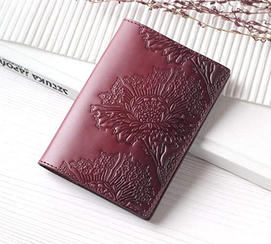 cfc20bf2d2db Amazon.com: Maroon Leather Passport Cover Holder Case For Women ...