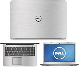 Silver Brushed Aluminum skin decal wrap skin case for Dell Inspiron 15 5555 5558 555915.6