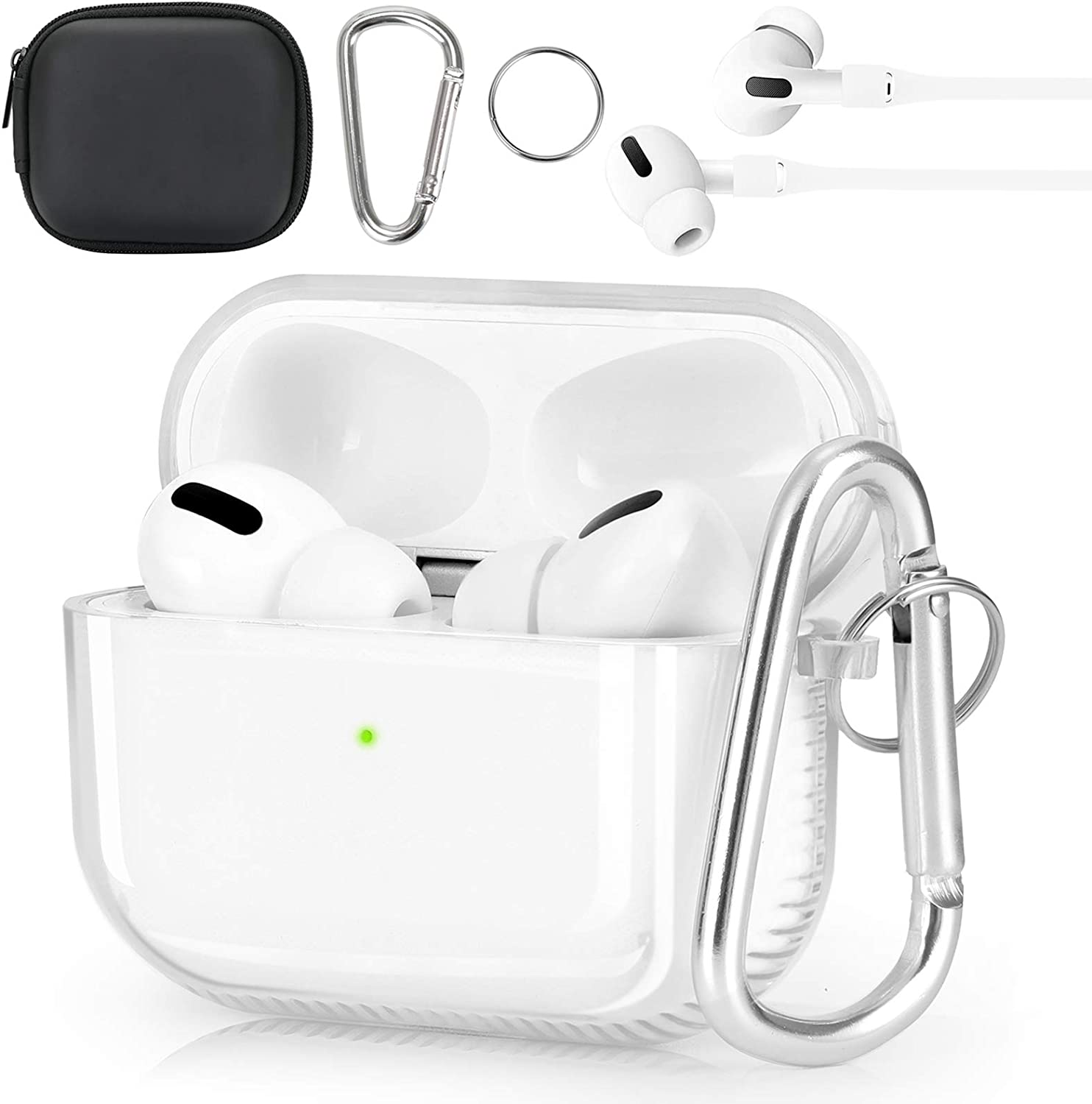 KOREDA Protective Cover Compatible with AirPods Pro Case, Soft Clear Full Protective Case Shockproof Cover with Keychain Set for Apple Airpods Pro Charging Case 3RD Gen (Clear)