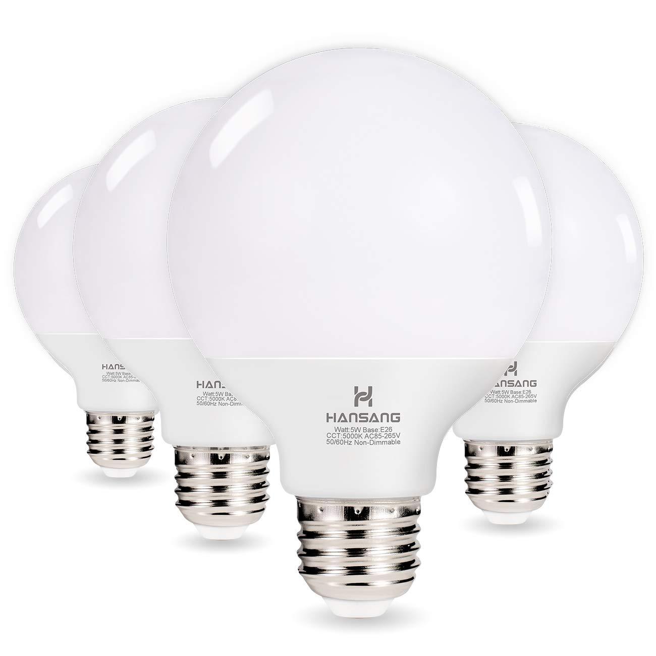 Hansang G25 LED Globe Light Bulbs,60W Equivalent 5000K Daylight White Eye-friendly Decorative Vanity Round Light Bulbs E26 Base,Perfect For Vanity Makeup Mirror,droplight,Floor lamp,Non-Dimmable 4Pack