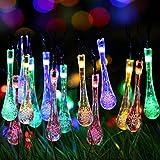 ifOlife Raindrop Solar String Light Outdoor Decro 30 LEDs 21Ft 8-Mode Waterproof Crystal Ball Fairy Lighting for Decor,Garden,Chrimas Party,Weddings Multi Color