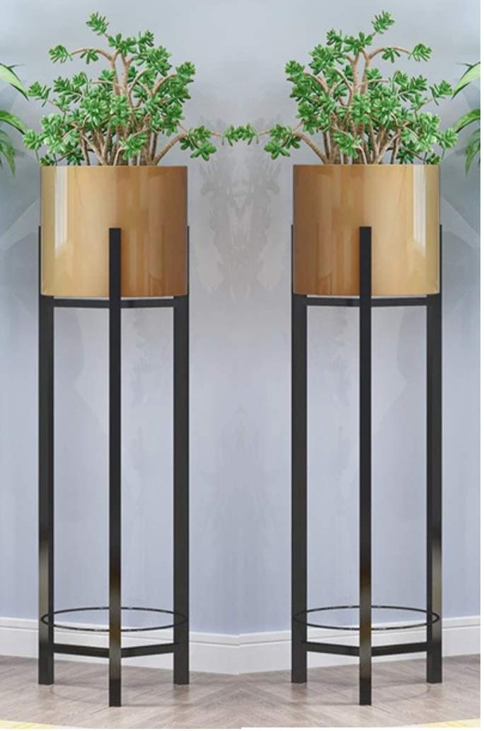 Crafter Modern Plant Stands Indoor Outdoor Decoration Potted With Pot Flower Stand Indoor Balcony Decoration Storage Shelf Living Room With Pot Set Of 2 Gold Amazon In Garden Outdoors