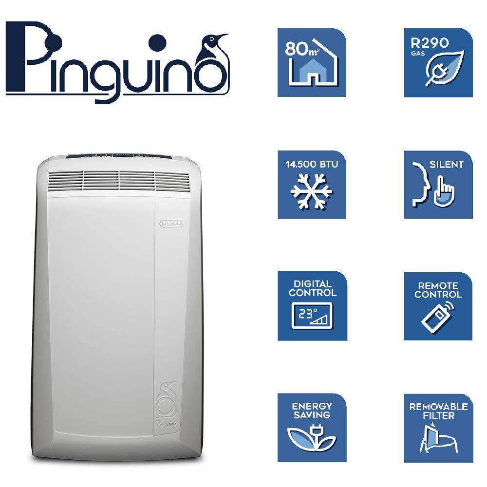 DeLonghi Pac N90 Eco Silent Aire Acondicionado portátil, Capacidad refrigeración 9800 BTU, Ventilador y función deshumidificación, Control Remoto, ...