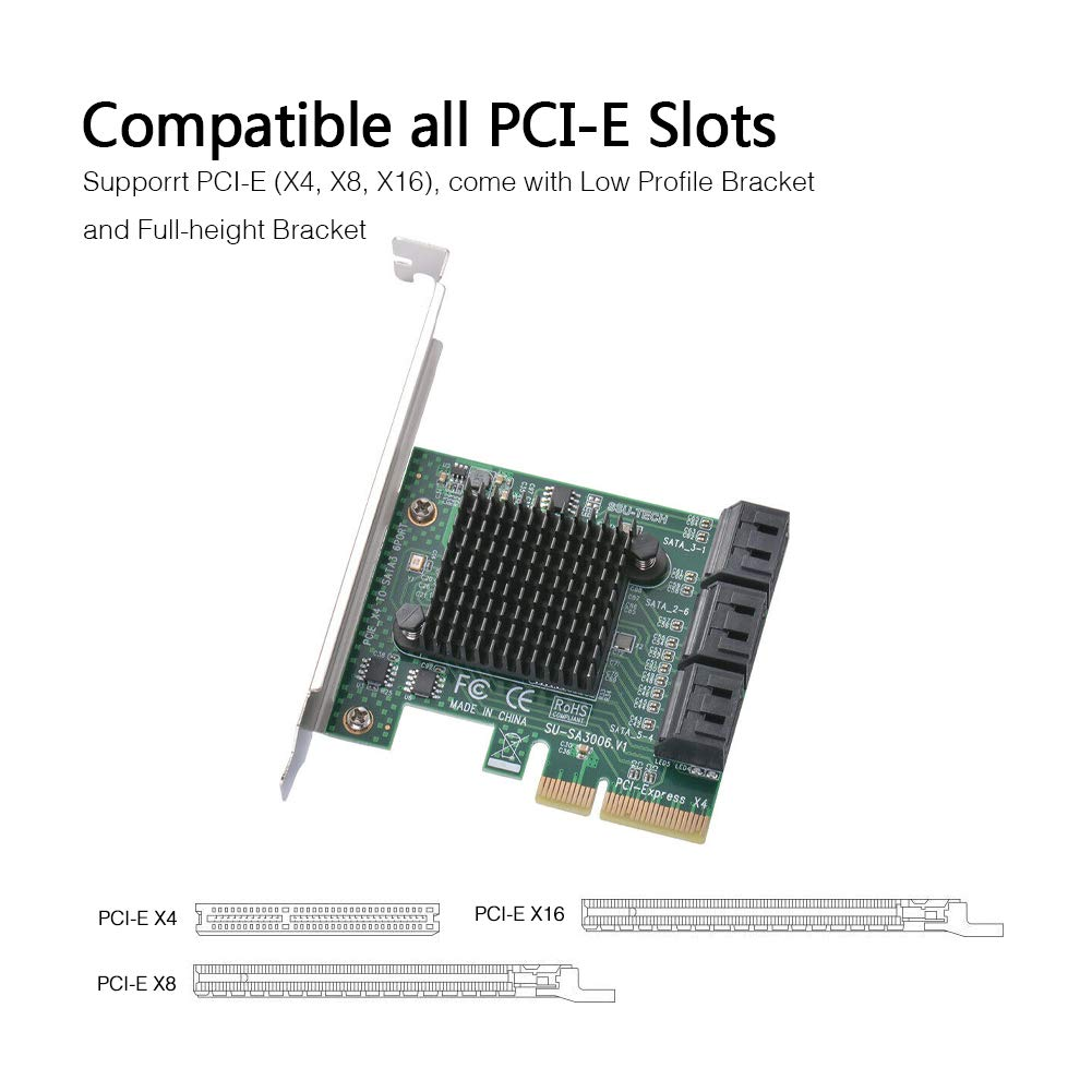 Amazon.com: Ziyituod 6 Port SATA Card, PCIe SATA III ...