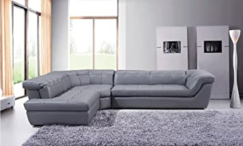 Amazon.com: 397 Modern Grey Italian Leather Sectional Sofa With Left Chaise: Furniture & Decor